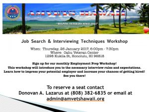 Flyer - Job Search & Interviewing Techniques Workshop_Oahu Veteran Center.001