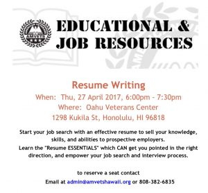 Resume Writing Workshop; Thursday, 27 April 2017, 6:00pm - 7:30pm Flyer