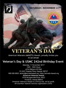 2017 Veterans Day & USMC 242nd Birthday Event